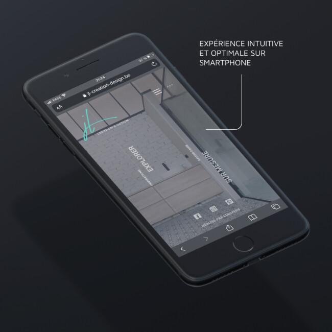 Mockup de présentation mobile du site de JL Création & Design