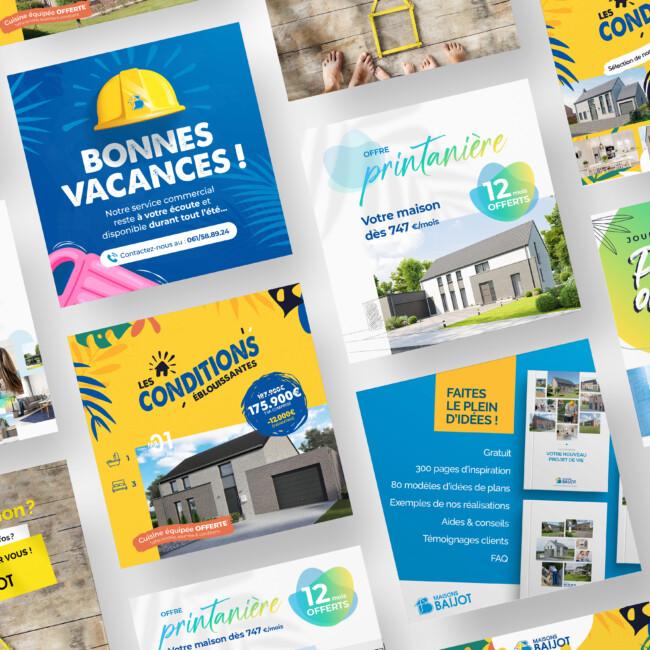 Différentes bannières de campagne Facebook pour Maison Baijot