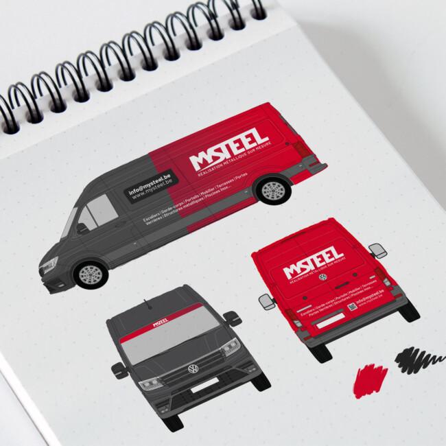 Lettrage de la camionnette de MySteel